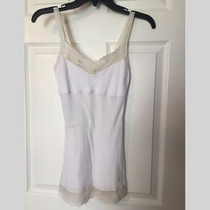 Abercrombie white ribbed camisole with lace detail